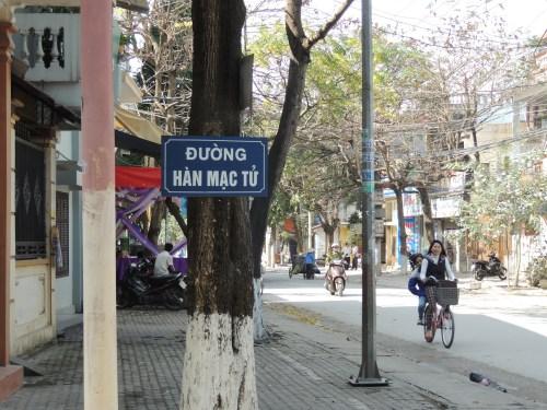 Bảng tên đường ở thành phố Thanh Hoá, tỉnh cùng tên, cũng ghi Hàn Mạc Tử chứ không ghi Hàn Mặc Tử. Ảnh: Ngô Xuân Ái