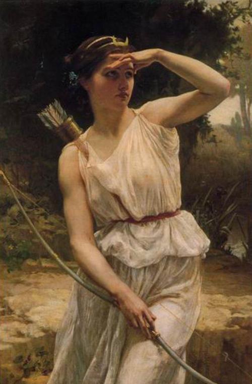 Nữ thần săn bắn Diana / Artemis. Tranh sơn dầu: Guillaume Seignac (1870 – 1924)