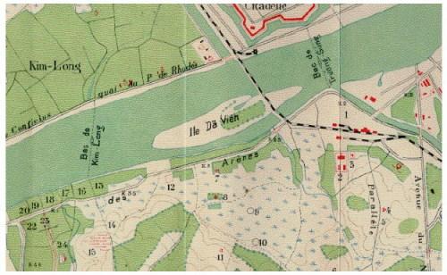 Cầu Bạch Hổ & cầu Dã Viên bắc ngang sông Hương qua bản đồ năm 1925