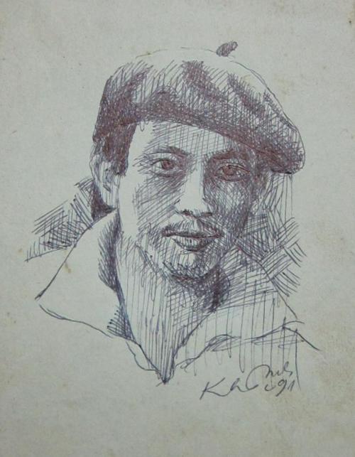 Chân dung Phanxipăng. Ký họa bút bi: Vĩnh Khánh