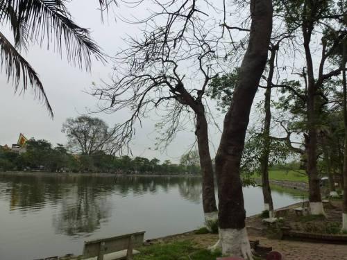 Một góc hồ Bán Nguyệt hiện nay. Ảnh: Thuỷ Linh