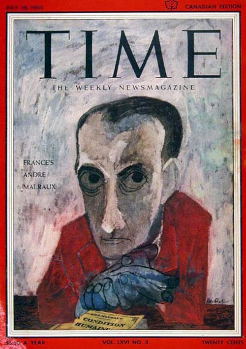 André Malraux do Ben Shahim hí hoạ và đăng trên bìa tạp chí Time, bản in tại Canada năm 1955