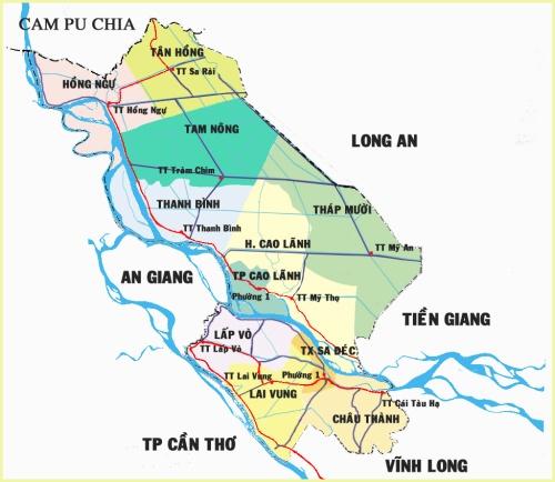 Bản đồ tỉnh Đồng Tháp