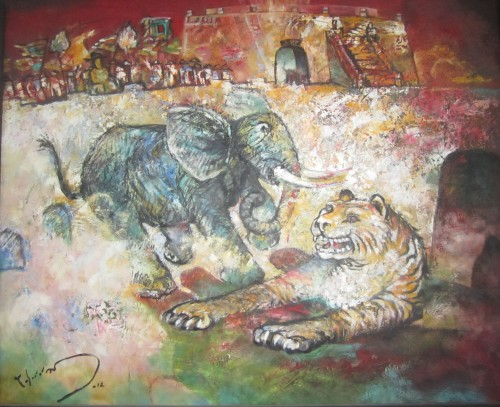 """""""Thư hùng"""" – tranh sơn dầu của Tuấn Dương tặng Phanxipăng"""