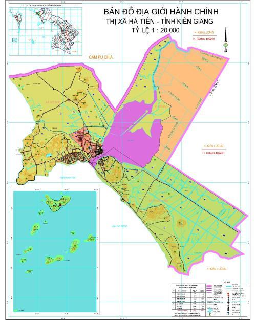 Bản đồ địa giới hành chính thị xã Hà Tiên hiện thời