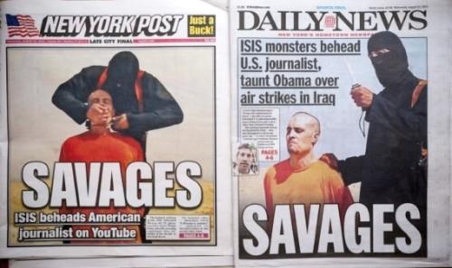 """Loan tin IS hành quyết phóng viên, nhiều tờ báo giật tít măng sét / titre de """"une"""" / banner / streamer rất gọn trên trang nhất: """"Savages / Man rợ"""""""