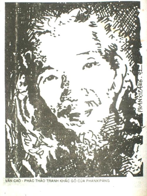 Văn Cao. Phác thảo tranh khắc gỗ của Phanxipăng vào năm 1992. Đã đăng trên Tuyển tập Trẻ 3 (1-1994)
