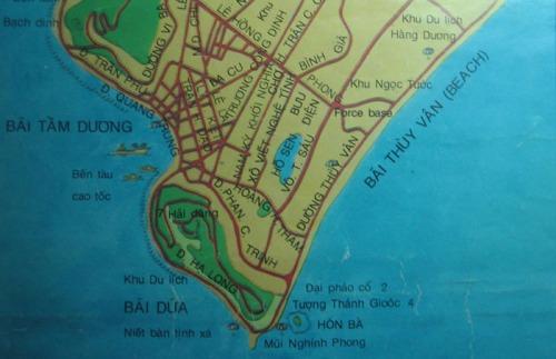 Trích bản đồ do Sở Du lịch tỉnh Bà Rịa - Vũng Tàu ấn hành năm 1998
