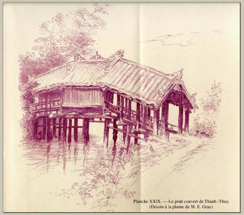 Cầu ngói Thanh Toàn / Thanh Thuỷ / Dạ Lê qua nét vẽ của E. Gras. Tranh đăng BAVH №3-1917