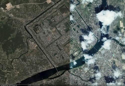 Sông Hương, đoạn chảy trước Thành Nội / Hoàng thành Huế, nhìn từ vệ tinh