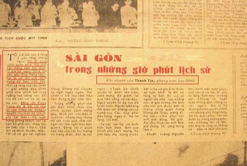 """Báo Quân Đội Nhân Dân 2-5-1975 đăng bài """"Sài Gòn trong những giờ phút lịch sử"""" của Thành Tín / Bùi Tín"""